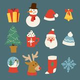 Διανυσματικά σύμβολα εικονιδίων Χριστουγέννων για σχέδιο εορτασμού χειμερινού το νέο έτους ευχετήριων καρτών Στοκ Φωτογραφίες
