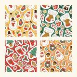 Διανυσματικά σύμβολα εικονιδίων Χριστουγέννων για το άνευ ραφής σχέδιο σχεδίων χειμερινού εορτασμού ευχετήριων καρτών διακοπές Χρ διανυσματική απεικόνιση