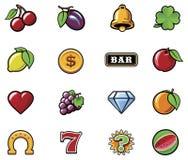 Διανυσματικά σύμβολα μηχανημάτων τυχερών παιχνιδιών με κέρματα που τίθενται Στοκ Φωτογραφία