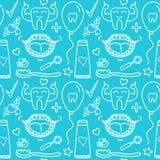 Διανυσματικά σύμβολα προσοχής συνόλου οδοντικά Άνευ ραφής σχέδιο που απομονώνεται στο σύγχρονο υπόβαθρο χρώματος Στοκ Εικόνες