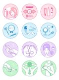 Διανυσματικά σύμβολα σαλονιών SPA καθορισμένα Στοκ Εικόνες