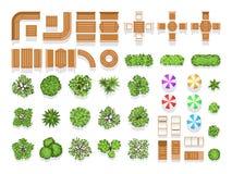 Διανυσματικά σύμβολα τοπ άποψης εξωραϊσμού αρχιτεκτονικής πόλεων σχεδίων πάρκων, ξύλινοι πάγκοι και δέντρα ελεύθερη απεικόνιση δικαιώματος