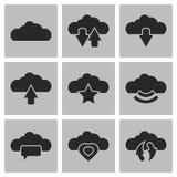 Διανυσματικά σύννεφα Ιστός εικονιδίων και κινητός Στοκ Εικόνα