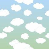 Διανυσματικά σύννεφα στο μπλε ουρανό Στοκ Εικόνα