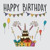 Διανυσματικά σύνολα γιορτών γενεθλίων εορτασμού ελεύθερη απεικόνιση δικαιώματος