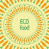 Διανυσματικά τρόφιμα eco κύκλων  προτύπων Ñ arrot πράσινα πορτοκαλιά Στοκ Εικόνες