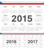 Διανυσματικά τσεχικά ημερολόγια 2015, 2016, 2017 κύκλων απεικόνιση αποθεμάτων