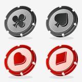 Διανυσματικά τσιπ πόκερ χαρτοπαικτικών λεσχών Στοκ Φωτογραφίες