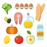 Διανυσματικά υγιή εικονίδια τροφίμων που τίθενται στο επίπεδο ύφος Στοκ φωτογραφία με δικαίωμα ελεύθερης χρήσης