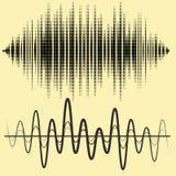 Διανυσματικά υγιή κύματα καθορισμένα Ακουστική τεχνολογία εξισωτών, σφυγμός μουσικός Διανυσματική απεικόνιση του σχεδίου και της  Στοκ φωτογραφίες με δικαίωμα ελεύθερης χρήσης