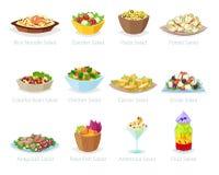 Διανυσματικά υγιή τρόφιμα σαλάτας με την ντομάτα ή την πατάτα φρέσκων λαχανικών στο σαλάτα-κύπελλο ή σαλάτα-πιάτο για το γεύμα ή  διανυσματική απεικόνιση