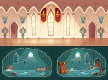 Διανυσματικά υπόβαθρα παιχνιδιών, αίθουσα χορού, κελί φυλακής διανυσματική απεικόνιση
