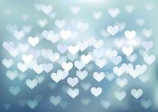 Διανυσματικά φω'τα Defocused στη μορφή καρδιών Στοκ Εικόνες