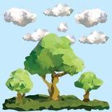 Διανυσματικά χαμηλά δέντρα πολυγώνων στο τοπίο Στοκ Εικόνα