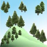 Διανυσματικά χαμηλά πεύκα πολυγώνων στο βουνό Στοκ εικόνες με δικαίωμα ελεύθερης χρήσης