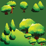 Διανυσματικά χαμηλά πολυ δέντρα και πεύκα στο βουνό Στοκ φωτογραφίες με δικαίωμα ελεύθερης χρήσης