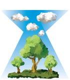 Διανυσματικά χαμηλά πολυ δέντρα και σύννεφα Στοκ Εικόνες