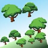 Διανυσματικά χαμηλά πολυ δέντρα στο βουνό Στοκ φωτογραφία με δικαίωμα ελεύθερης χρήσης