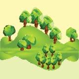 Διανυσματικά χαμηλά πολυ δέντρα στο βουνό Στοκ Εικόνα