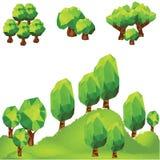 Διανυσματικά χαμηλά πολυ δέντρα στο βουνό Στοκ εικόνες με δικαίωμα ελεύθερης χρήσης