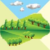 Διανυσματικά χαμηλά πολυ δέντρα στο βουνό Στοκ Φωτογραφίες
