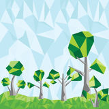 Διανυσματικά χαμηλά πολυ δέντρα στο τοπίο Στοκ εικόνες με δικαίωμα ελεύθερης χρήσης