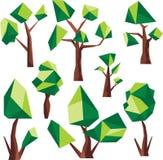 Διανυσματικά χαμηλά πολυ πράσινα δέντρα Στοκ Φωτογραφίες