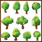 Διανυσματικά χαμηλά πράσινα δέντρα πολυγώνων Στοκ Εικόνες