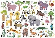 Διανυσματικά χαριτωμένα αφρικανικά ζώα ελεύθερη απεικόνιση δικαιώματος