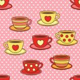 Διανυσματικά χαριτωμένα φλυτζάνια doodle Άνευ ραφής σχέδιο για το τύλιγμα δώρων, τα συγχαρητήρια, τις γαμήλιες προσκλήσεις και τη Στοκ Εικόνα