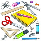 Διανυσματικά χαρτικά για το σχολείο και το σπουδαστή, σημειωματάριο με τη μάνδρα, δείκτης και ψαλίδι στοκ εικόνες