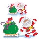 Διανυσματικά χειμερινά Χριστούγεννα, η νέα απεικόνιση Άγιος Βασίλης έτους τραβά ένα έλκηθρο με μια τσάντα των δώρων Στοκ εικόνα με δικαίωμα ελεύθερης χρήσης