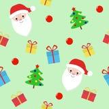 Διανυσματικά Χριστούγεννα και νέο άνευ ραφής σχέδιο έτους με Άγιο Βασίλη διανυσματική απεικόνιση
