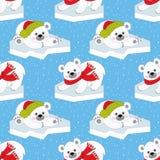 Διανυσματικά Χριστούγεννα και νέο άνευ ραφής σχέδιο έτους με τις πολικές αρκούδες Στοκ φωτογραφίες με δικαίωμα ελεύθερης χρήσης