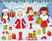 Διανυσματικά Χριστούγεννα και νέο έτος που τίθενται με τα όμορφα κορίτσια και τα Χριστούγεννα Στοκ Εικόνες