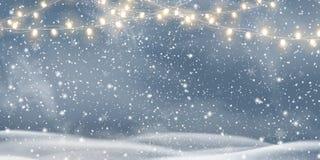 Διανυσματικά Χριστούγεννα νύχτας, χιονώδες τοπίο με τις ελαφριές γιρλάντες, χιόνι, snowflakes, snowdrift καλή χρονιά Διακοπές χει απεικόνιση αποθεμάτων