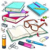 Διανυσματικά χρωματισμένα εικονίδια χαρτικά για το σχολείο και το σπουδαστή Σύνολο για τη μελέτη, βιβλία, γυαλιά, χαρτικά στοκ φωτογραφία