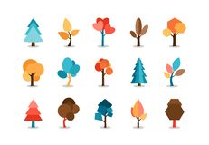 Διανυσματικά χρωματισμένα εικονίδια δέντρων καθορισμένα Στοκ Φωτογραφίες