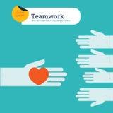 Διανυσματικά δύο χέρια που προσφέρουν μια καρδιά Στοκ Εικόνες