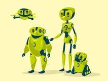 Διανυσματικά androids ρομπότ κινούμενων σχεδίων cyborgs καθορισμένα Στοκ Φωτογραφίες