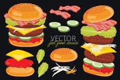 Διανυσματικά burgers στο μαύρο υπόβαθρο Στοκ Εικόνες