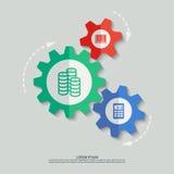 Διανυσματικά cogwheels χρώματος με τα νομίσματα κώδικα φραγμών Στοκ Εικόνες