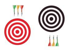 Διανυσματικά dartboards που απομονώνονται στην άσπρη ανασκόπηση Με τα πλέγματα Στοκ Εικόνες