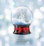 Διανυσματικά globebeautiful χριστουγεννιάτικα δέντρα χιονιού Χριστουγέννων απεικόνισης ρεαλιστικά κενά με το χιόνι, στο θολωμένο  Στοκ εικόνα με δικαίωμα ελεύθερης χρήσης