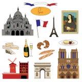 Διανυσματικά hand-drawn ορόσημα του Παρισιού και ζωηρόχρωμο σύνολο απεικόνισης τροφίμων Στοκ Εικόνες