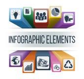Διανυσματικά infographic στοιχεία με τα ενσωματωμένα επιχειρησιακά εικονίδια Στοκ Εικόνες