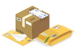 Διανυσματικά isometric ταχυδρομικά δέματα, ταχυδρομεία διανυσματική απεικόνιση