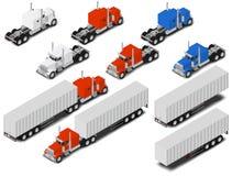 Διανυσματικά isometric φορτηγά και ρυμουλκά καθορισμένα Εικονίδια Tranport Στοκ Εικόνες