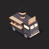 Διανυσματικά isometric φορτηγά τροφίμων Στοκ Φωτογραφίες