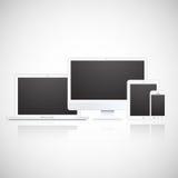 Διανυσματικά lap-top, ταμπλέτα, όργανο ελέγχου και τηλέφωνο Στοκ Εικόνες